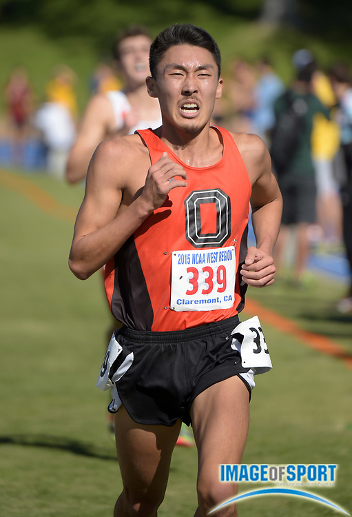 Nov 14, 2015; Claremont, CA, USA; Aaron Sugimoto of Occidental (339) runs during the 2015 NCAA Division III West Regionals cross country championships at Pomona-Pitzer College.