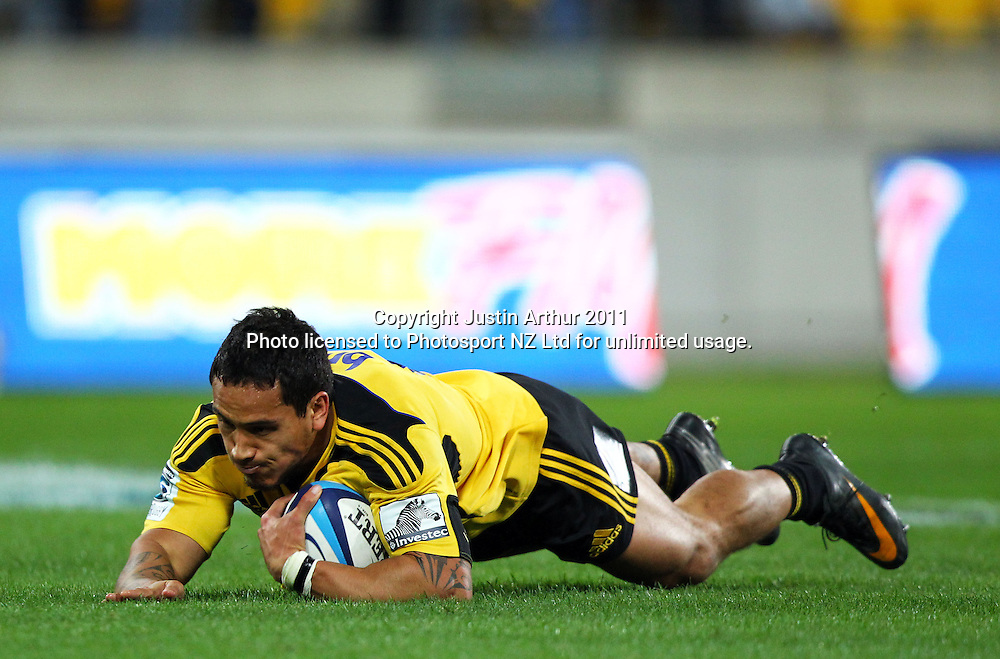 Hosea Gear scores for the Hurricanes.Investec Super 15 rugby match - Hurricanes v Lions, at Westpac Stadium, Wellington, New Zealand on Saturday 4 June 2011. Photo: Justin Arthur / photosport.co.nz