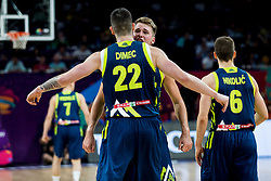 Ziga Dimec of Slovenia and Luka Doncic of Slovenia celebrates during basketball match between National Teams of Slovenia and Spain at Day 15 in Semifinal of the FIBA EuroBasket 2017 at Sinan Erdem Dome in Istanbul, Turkey on September 14, 2017. Photo by Vid Ponikvar / Sportida
