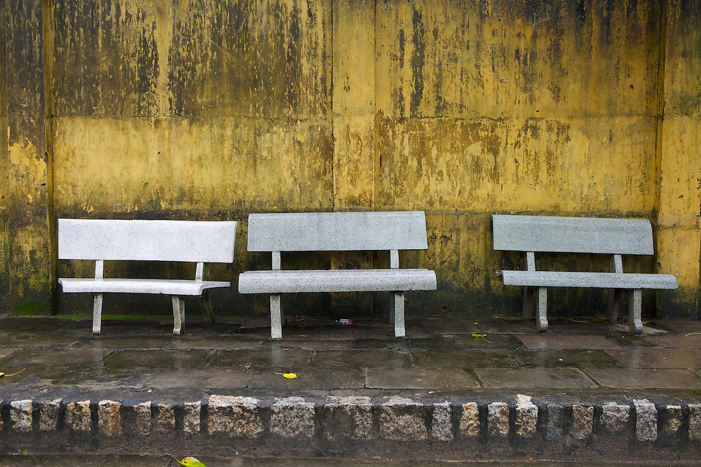 Empty stone benches at Long Son Pagoda, Nha Trang, Vietnam.