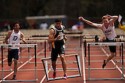 AMHERST, MA - MAY 3: From left, Jared Horne of Duquesne University, Chase Turner of Virginia Commonwealth University and Zachary Grube of the University of Massachusetts Amherst compete in the men's 110 meter high hurdles during Day 1 of the Atlantic 10 Outdoor Track and Field Championships at the University of Massachusetts Amherst Track and Field Complex on May 3, 2014 in Amherst, Massachusetts. (Photo by Daniel Petty/Atlantic 10)