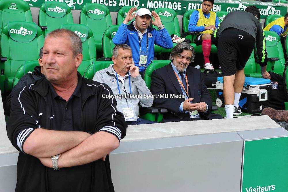 Rolland COURBIS / Pascal BAILLS / Laurent NICOLLIN - 26.04.2015 - Saint Etienne / Montpellier - 34eme journee de Ligue 1<br /> Photo : Jean Paul Thomas / Icon Sport
