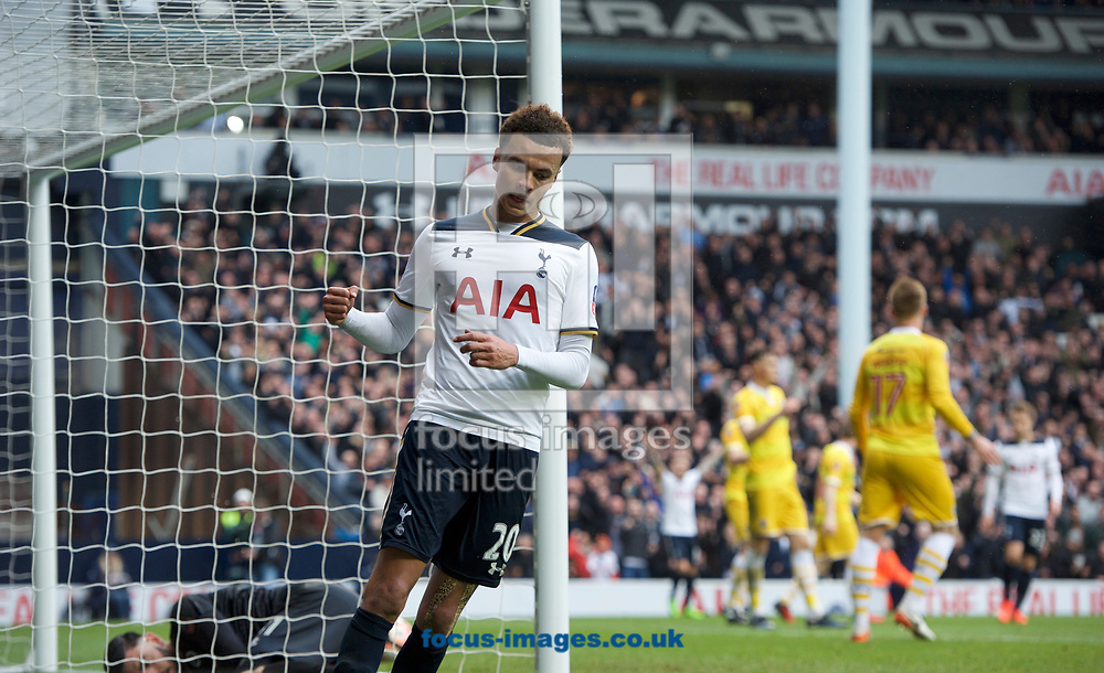 Dele Alli of Tottenham Hotspur celebrates after scoring to make it 4-0 during the quarter final of the FA Cup match at White Hart Lane, London<br /> Picture by Alan Stanford/Focus Images Ltd +44 7915 056117<br /> 12/03/2017