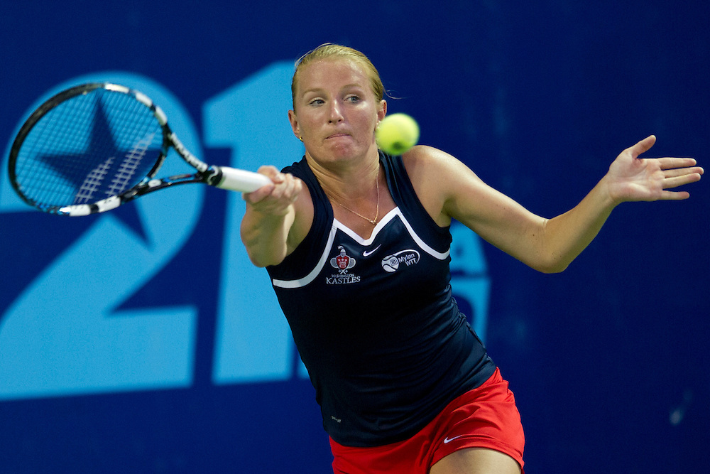 IRVING, TX - JULY 10:  Alla Kudryavtseva of the Washington Kastles returns the ball during a women's doubles match against the Texas Wild on July 10, 2013 at the Four Seasons Resort and Club in Irving, Texas.  (Photo by Cooper Neill/Getty Images) *** Local Caption *** Alla Kudryavtseva