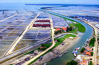 Java, East Java, Madura. Madura is a major producer and exporter of salt. Salt factories at the south coast (from helicopter).