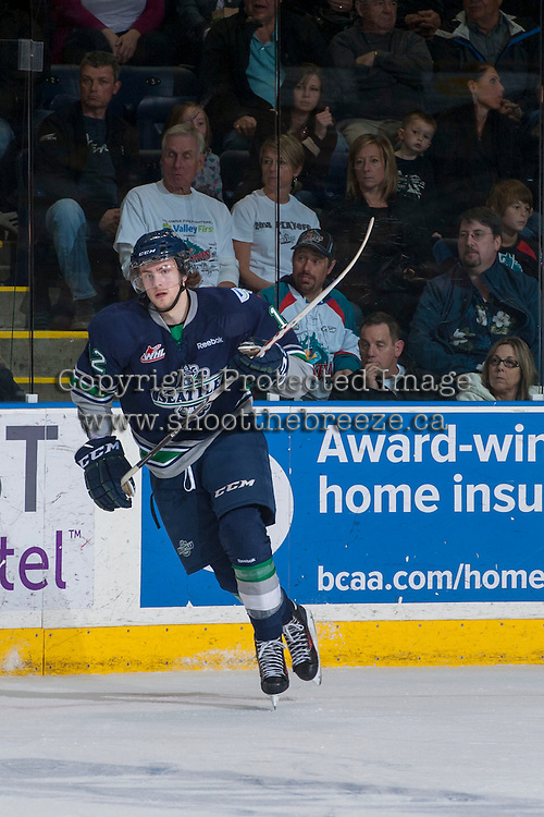 KELOWNA, CANADA - APRIL 5: Ryan Gropp #12 of the Seattle Thunderbirds skates against the Kelowna Rockets on April 5, 2014 during Game 2 of the second round of WHL Playoffs at Prospera Place in Kelowna, British Columbia, Canada.   (Photo by Marissa Baecker/Getty Images)  *** Local Caption *** Ryan Gropp;