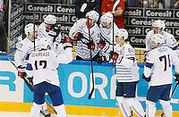 Joie Kevin Hecquefeuille - 07.05.2015 - Republique Tcheque / France - Championnat du Monde de Hockey sur Glace <br />Photo : Xavier Laine / Icon Sport