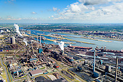 Nederland, Noord-Holland, IJmuiden, 01-08-2016; Velsen-Noord, terrein van Tata Steel met twee hoogovens en de cokesfabriek.<br /> Tata Steel industrial site, steel works.<br /> <br /> luchtfoto (toeslag op standard tarieven);<br /> aerial photo (additional fee required);<br /> copyright foto/photo Siebe Swar