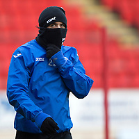 St Johnstone Training....30.12.14<br /> All wrapped up against the cold, Lee Croft pictured in training this morning ahead of the New Years Day game at Aberdeen.<br /> Picture by Graeme Hart.<br /> Copyright Perthshire Picture Agency<br /> Tel: 01738 623350  Mobile: 07990 594431
