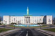 Front facade of Waltham Forest Town Hall and Walthamstow Assembly Hall with clear blue sky behind London, UK. The building is of s stripped classical 20th century architecture and Grade II listed status.