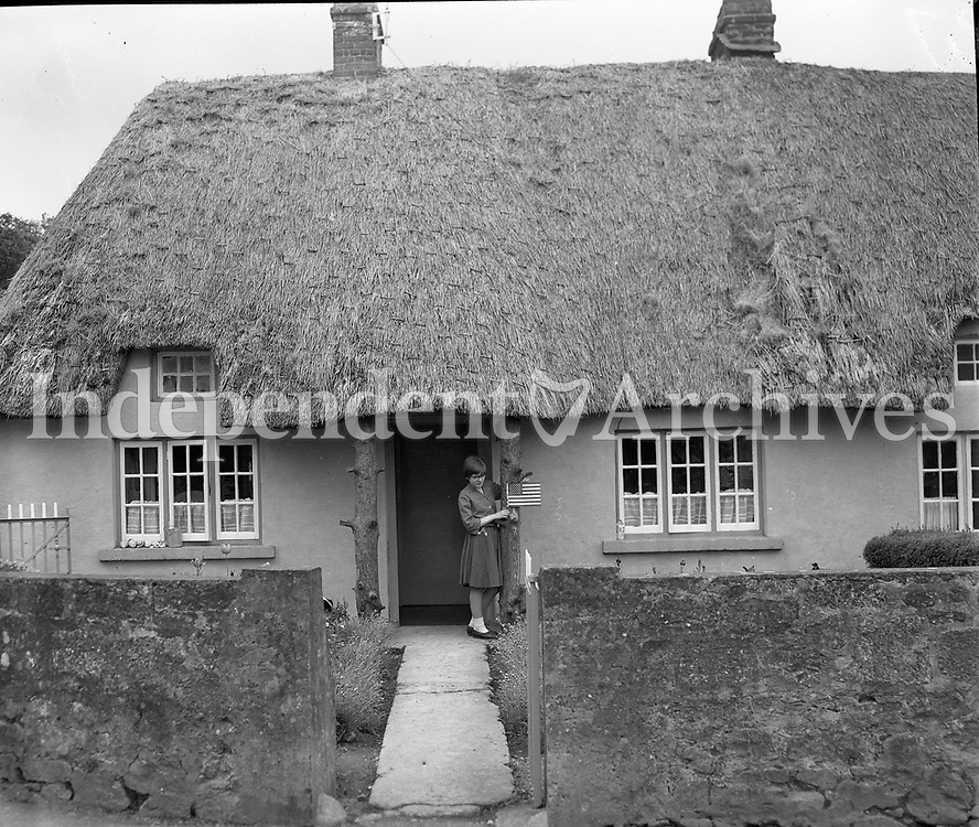 A woman getting her house ready for the visit of Ted Kennedy to Ireland, circa May 1964. <br /> (Part of the Independent Newspapers Ireland/NLI Collection).