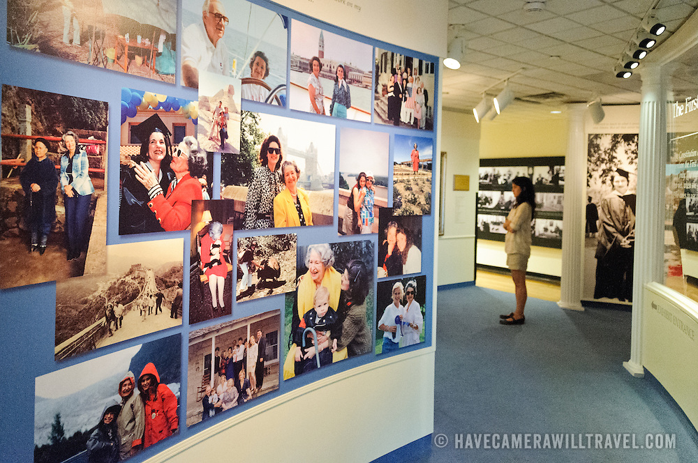 A gallery of photos as part of an exhibit on former First Lady, Lady Bird Johnson at the LBJ Museum in Austin Texas,