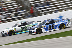 April 8, 2018 - Ft. Worth, Texas, United States of America - April 08, 2018 - Ft. Worth, Texas, USA: Gray Gaulding (23) and Alex Bowman (88) battle for position during the O'Reilly Auto Parts 500 at Texas Motor Speedway in Ft. Worth, Texas. (Credit Image: © Chris Owens Asp Inc/ASP via ZUMA Wire)