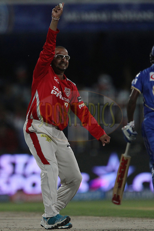 Murali Kartik of the Kings X1 Punjab appeals for the wicket of Abhishek Nayar of the Rajatshan Royals during match 7 of the Pepsi Indian Premier League 2014 between the Rajasthan Royals and The Kings XI Punjab held at the Sharjah Cricket Stadium, Sharjah, United Arab Emirates on the 20th April 2014<br /> <br /> Photo by Ron Gaunt / IPL / SPORTZPICS