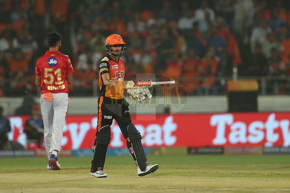 Manish Pandey of the Sunrisers Hyderabad appeals to the umpire saying the delivery was a no ball during match twenty five of the Vivo Indian Premier League 2018 (IPL 2018) between the Sunrisers Hyderabad and the Kings XI Punjab  held at the Rajiv Gandhi International Cricket Stadium in Hyderabad on the 26th April 2018.<br /> <br /> Photo by: Ron Gaunt /SPORTZPICS for BCCI