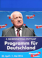 Former Czech Prime Minister Vaclav Klaus during the fifth Alternative for Germany  (AfD) party convention at the Messe Stuttgart, Stuttgart, Germany.<br /> Picture by EXPA Pictures/Focus Images Ltd 07814482222<br /> 30/04/2016<br /> <br /> ***UK & IRELAND ONLY***<br /> <br /> EXPA-EIB-160430-0066.jpg