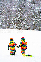 Love is.... photo of two little friends sledding on a snowy afternoon on Sled Hill in Woodstock,NY by Star Nigro.<br /> <br /> <br /> <br /> © 2019 All artwork is the property of STAR NIGRO.  Reproduction is strictly prohibited.