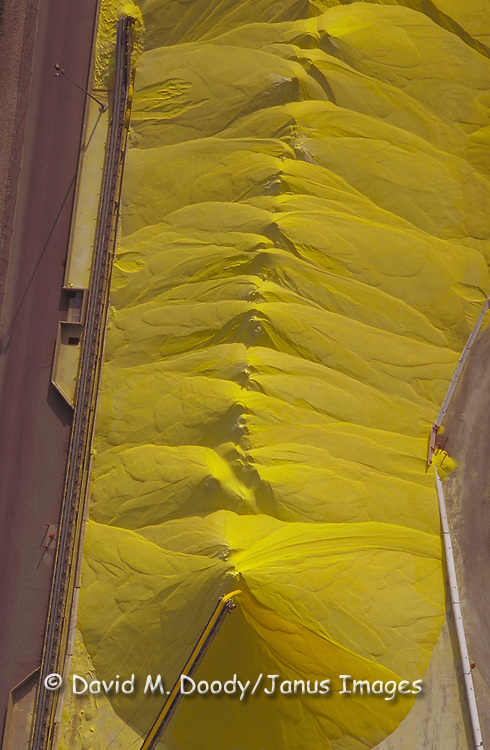 Aerial View of a stockpile of  yellow Aluminum Oxide, Long Beach California.