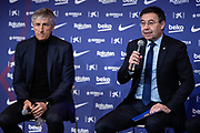 Presentation Quique Setien, new coach of FC Barcelona with FC Barcelona president Josep Maria Bartomeu on January 14, 2020 at Camp Nou in Barcelona, Spain - Photo Marc Gonzalez Aloma / Spain ProSportsImages / DPPI / ProSportsImages / DPPI