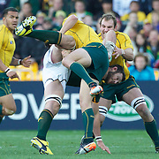 Danie Rossouw, South Africa, is tackled by Adam Ashley-Cooper, and Rocky Elsom, Australia, (right) during the South Africa V Australia Quarter Final match at the IRB Rugby World Cup tournament. Wellington Regional Stadium, Wellington, New Zealand, 9th October 2011. Photo Tim Clayton...