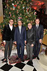 Left to right, STEFANO GABBANA, STEPHEN ALDEN, THOMAS KOCHS and DOMENICO DOLCE at a party to celebrate the unveiling of the 2014 Claridge's Christmas tree by Dolce & Gabbana at Claridge's, Brook Street, London on 19th November 2014.