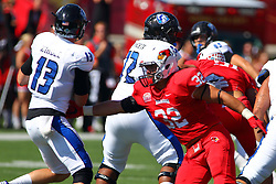 17 September 2016:  Alejandro Rivera finds Mitch Kimble in the pocket. NCAA FCS Football game between Eastern Illinois Panthers and Illinois State Redbirds for the 105th Mid-America Classic on Family Dat at Hancock Stadium in Normal IL (Photo by Alan Look)
