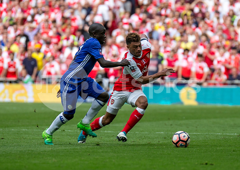 N'golo Kante of Chelsea and Alex Oxlade-Chamberlain of Arsenal during the Emirates FA Cup Final between Arsenal and Chelsea at Wembley Stadium, London, England on the 27th May 2017. Photo by Liam McAvoy.