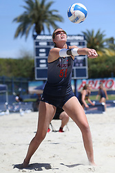 April 7, 2018 - Tucson, AZ, U.S. - TUCSON, AZ - APRIL 07: Arizona Wildcats blocker Hailey Devlin (51) hits the ball during a college beach volleyball match between the California Golden Bears and the Arizona Wildcats on April 07, 2018, at Bear Down Beach in Tucson, AZ. Arizona defeated California 3-2. (Photo by Jacob Snow/Icon Sportswire (Credit Image: © Jacob Snow/Icon SMI via ZUMA Press)