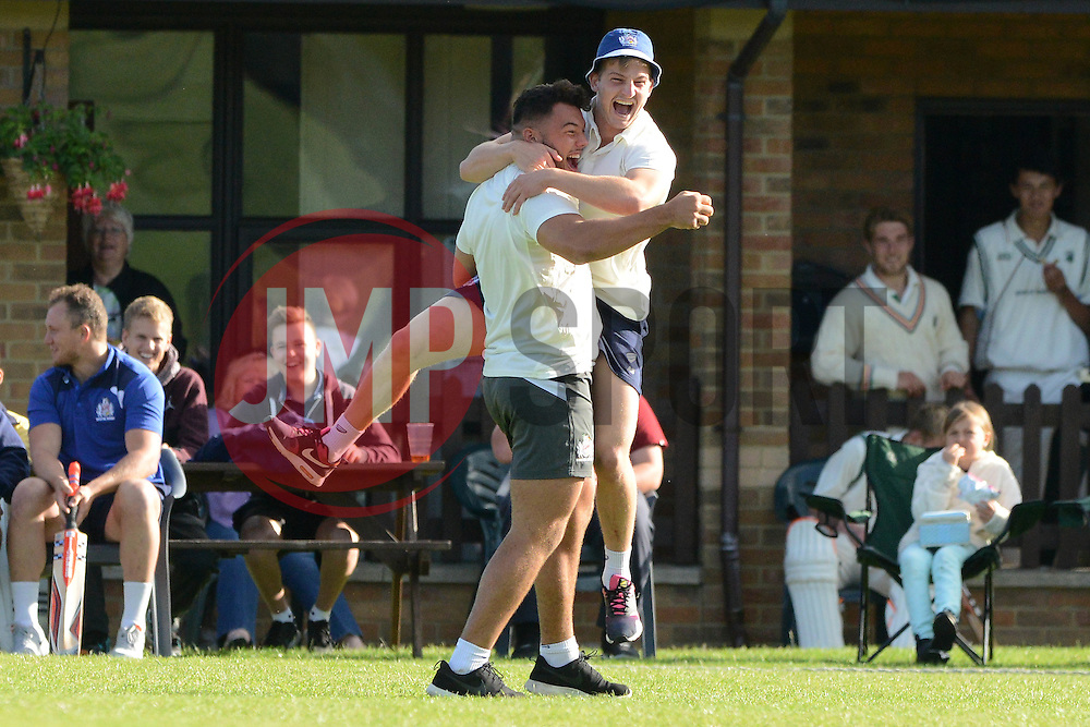 Ellis Genge of Bristol Rugby celebrates taking a catch with Auguy Slowik during an exhibition cricket game with Bishopston Cricket Club - Photo mandatory by-line: Dougie Allward/JMP - Mobile: 07966 386802 - 29/07/2015 - SPORT - Cricket - Bristol - Westbury Fields - Bishopston CC v Bristol Rugby - Exhibition Game