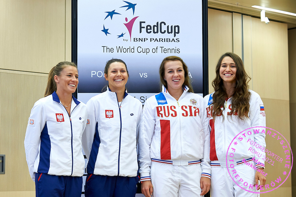 (L-R) Alicja Rosolska and Klaudia Jans Ignacik both from Poland and Anastasia Pavyuchenkova and Vitalia Diatchenko both from Russia during official draw one day before the Fed Cup / World Group 1st round tennis match between Poland and Russia at Holiday Inn on February 6, 2015 in Cracow, Poland.<br /> <br /> Poland, Cracow, February 6, 2015<br /> <br /> Picture also available in RAW (NEF) or TIFF format on special request.<br /> <br /> For editorial use only. Any commercial or promotional use requires permission.<br /> <br /> Adam Nurkiewicz declares that he has no rights to the image of people at the photographs of his authorship.<br /> <br /> Mandatory credit:<br /> Photo by &copy; Adam Nurkiewicz / Mediasport