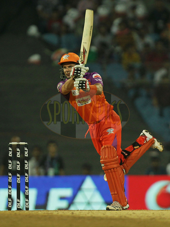 Brad Hodge of Kochi Tuskers Kerala plays a shot during  match 10 of the Indian Premier League ( IPL ) Season 4 between the Pune Warriors and the Kochi Tuskers Kerala held at the Dr DY Patil Sports Academy, Mumbai India on the 13th April 2011..Photo by BCCI/SPORTZPICS