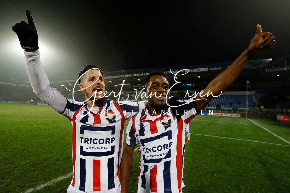 *Bartholomew Ogbeche* of Willem II celebrates the victory with *Fran Sol* of Willem II