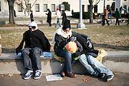 Attendees waits along Pennsylvania Avenue for Barack Obama's inauguration.