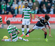 Celtic&rsquo;s Mikael Lustig tackles Dundee&rsquo;s Faissal El Bakhtaoui - Dundee v Celtic in the Ladbrokes Scottish Premiership at Dens Park, Dundee. Photo: David Young<br /> <br />  - &copy; David Young - www.davidyoungphoto.co.uk - email: davidyoungphoto@gmail.com
