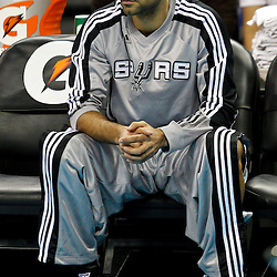 January 22, 2011; New Orleans, LA, USA; San Antonio Spurs point guard Tony Parker (9) during warm ups prior to tip off against the New Orleans Hornets at the New Orleans Arena.   Mandatory Credit: Derick E. Hingle