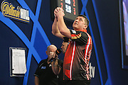 Mensur Suljovic emotions during his second round match with Mark Webster during the William Hill World Darts Championship at Alexandra Palace, London, United Kingdom on 27 December 2016. Photo by Shane Healey.
