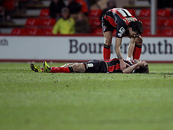 Bournemouth's Charlie Daniels attends to Bournemouth's Harry Arter - Photo mandatory by-line: Robbie Stephenson/JMP - Mobile: 07966 386802 - 03/03/2015 - SPORT - football - Bournemouth - Dean Court - Bournemouth v Wolverhampton Wanderers - Sky Bet Championship
