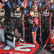 Trevor Bayne celebrates in Victory Lane after winning the Daytona 500 Sprint Cup race at Daytona International Speedway on February 20, 2011 in Daytona Beach, Florida. (AP Photo/Alex Menendez)