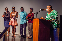 Denise Humphrey, Sr. Technical Director and Interim Director introduces and thanks her staff.  Reichhold Center of the Arts announces the lineup of their 26th season at Business After Hours.  Reichhold Center for the Arts.  28 August 2014.  © Aisha-Zakiya Boyd
