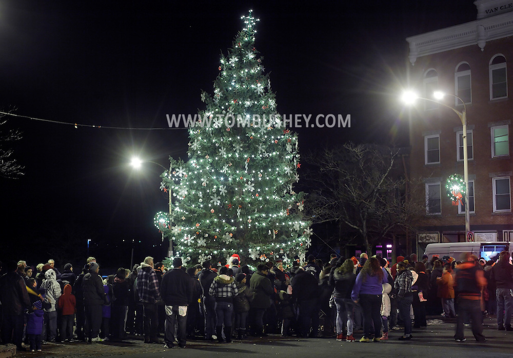 Newburgh, New York  - People watch the Christmas tree lighting ceremony on Broadway on the night of Dec. 14, 2011.