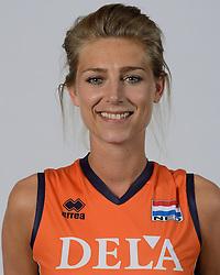 21-05-2014 NED: Selectie Nederlands volleybal team vrouwen, Arnhem<br /> Op Papendal werd het Nederlands team volleybal seizoen 2014-2015 gepresenteerd / Manon Flier