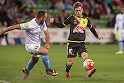 28 Mar 2016: Michael McGlinchey of the Wellington Phoenix and Ivan Franjic of Melbourne City contest the ball during the 25th round of the 2015-16 Hyundai A-League Season between Melbourne City and Wellington Phoenix held at AAMI Park, VIC, Australia. (Photo by Jason Heidrich/Icon Sportswire)