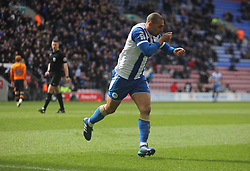 James Vaughan of Wigan Athletic celebrates after scoring his sides second goal - Mandatory by-line: Jack Phillips/JMP - 30/03/2018 - FOOTBALL - DW Stadium - Wigan, England - Wigan Athletic v Oldham Athletic - Football League One