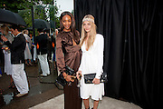 JOURDAN DUNN; CARA DELEVIGNE, The Summer party 2011 co-hosted by Burberry. The Summer pavilion designed by Peter Zumthor. Serpentine Gallery. Kensington Gardens. London. 28 June 2011. <br /> <br />  , -DO NOT ARCHIVE-© Copyright Photograph by Dafydd Jones. 248 Clapham Rd. London SW9 0PZ. Tel 0207 820 0771. www.dafjones.com.