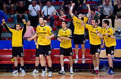 Players of Gorenje celebrate at handball match of MIK 1st Men league between RD Slovan and RK Gorenje Velenje, on May 16, 2009, in Arena Kodeljevo, Ljubljana, Slovenia. Gorenje won 27:26. (Photo by Vid Ponikvar / Sportida)