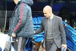 23.04.2014, Estadio Santiago Bernabeu, Madrid, ESP, UEFA CL, Real Madrid vs FC Bayern Muenchen, Halbfinale, Hinspiel, im Bild Chef-Trainer Pep Guardiola (FC Bayern Muenchen) kommt aus dem Tunnel // during the UEFA Champions League Round of 4, 1st Leg Match between Real Madrid vs FC Bayern Munich at the Estadio Santiago Bernabeu in Madrid, Spain on 2014/04/23. EXPA Pictures &copy; 2014, PhotoCredit: EXPA/ Eibner-Pressefoto/ Kolbert<br /> <br /> *****ATTENTION - OUT of GER*****
