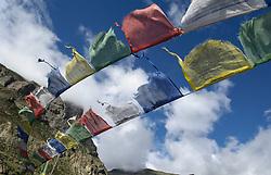 THEMENBILD - Trekkingtour in Nepal um die Annapurna Gebirgskette im Himalaya Gebirge. Das Bild wurde im Zuge einer 210 Kilometer langen Wanderung im Annapurna Gebiet zwischen 01. September 2012 und 15. September 2012 aufgenommen. im Bild Gebetsfahnen // THEME IMAGE FEATURE - Trekking in Nepal around Annapurna massif at himalaya mountain range. The image was taken between september 1. 2012 and september 15. 2012. Picture shows Prayer flags, NEP, EXPA Pictures © 2012, PhotoCredit: EXPA/ M. Gruber