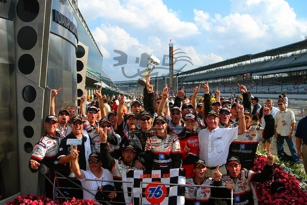 Kevin Harvick wins his first Brickyard 400 trophy as he held off the rest of the field at the Indianapolis Motor Speedway in Indianapolis, IN.