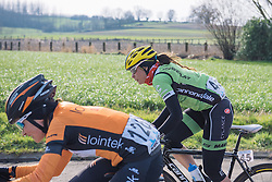 Sheyla Gutierrez speeds along with her former teammates - 2016 Omloop het Nieuwsblad - Elite Women, a 124km road race from Vlaams Wielercentrum Eddy Merckx to Ghent on February 27, 2016 in East Flanders, Belgium.