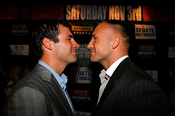 September 4, 2007; New York, NY, USA; WBA/WBC Super Middleweight Champion Mikkel Kessler (r) and WBO Super Middleweight Champion Joe Calzaghe (l) pose at the press conference announcing their November 3, 2007 fight.  The fight will take place at the Millennium Stadium, Cardiff, Wales, United Kingdom.